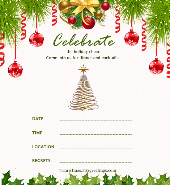 Free Holiday Party Invitation Templates New Christmas Invitation Template and Wording Ideas