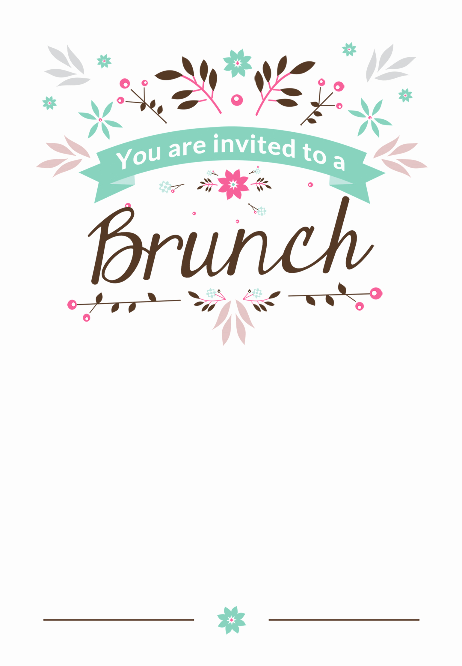 Free Invitation Template Printable Awesome Flat Floral Free Printable Brunch Invitation Template