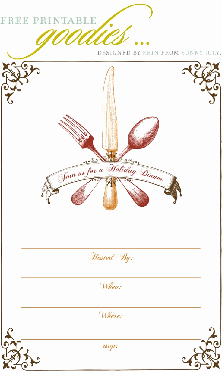 Free Invitation Template Printable Beautiful Free Dinner Party Invitation Template