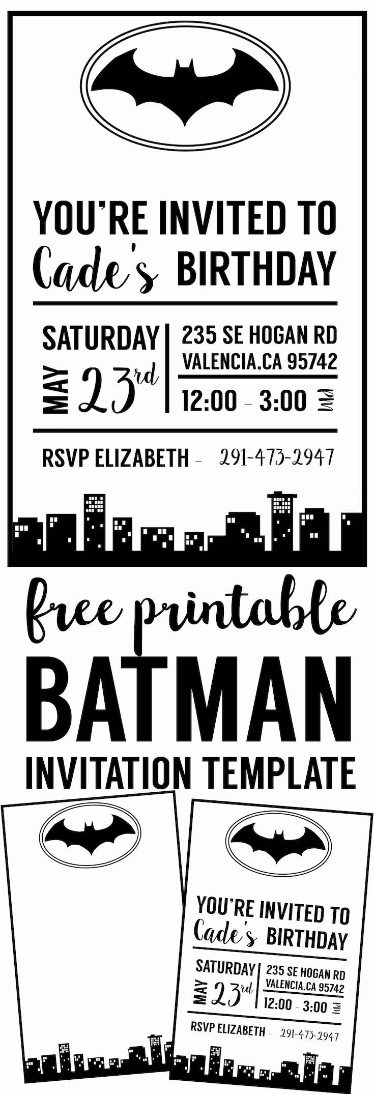 Free Invitation Template Printable Fresh Free Batman Invitation Template Paper Trail Design