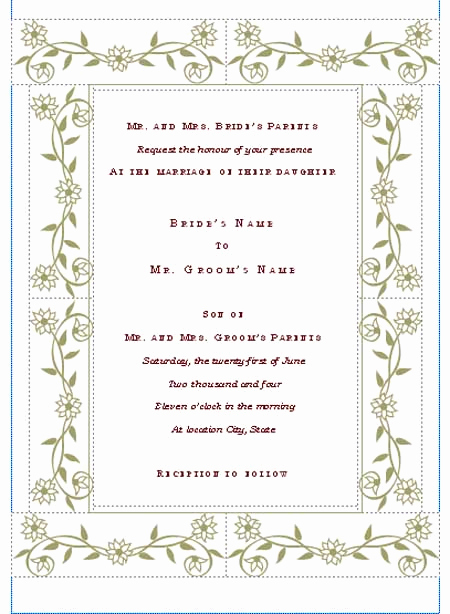 Free Invitation Templates for Word Elegant Free Wedding Invitation Templates Microsoft Word Templates