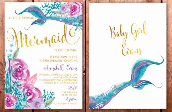 Free Little Mermaid Invitation Templates Beautiful 43 Printable Baby Shower Invitations Psd Ai Word Eps