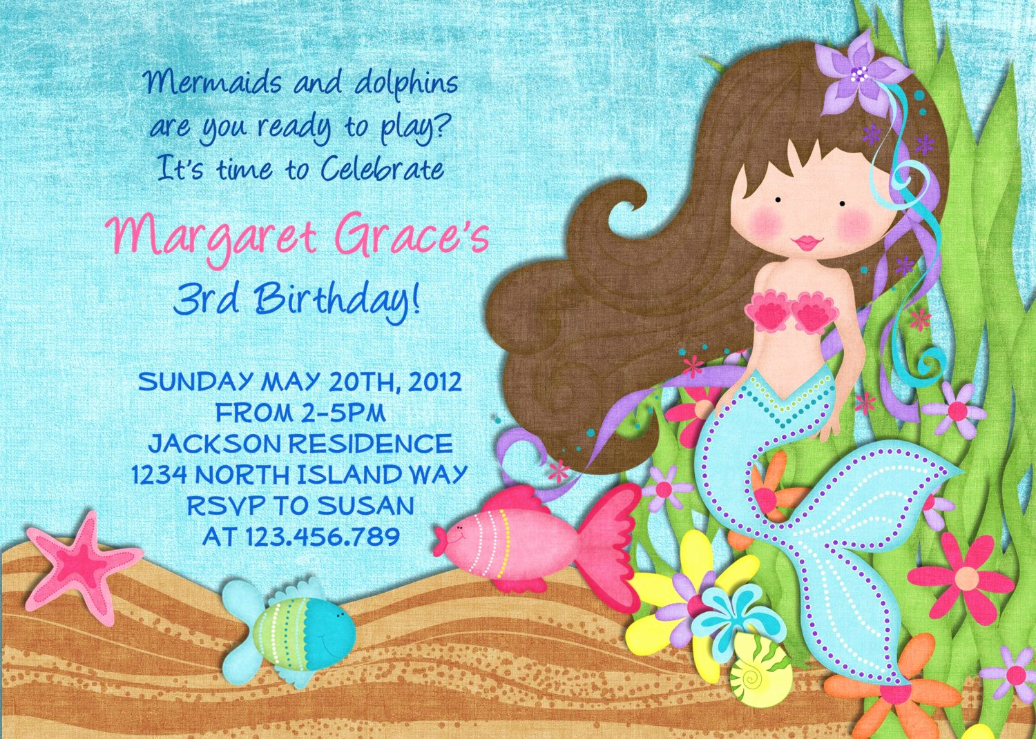 Free Little Mermaid Invitation Templates Beautiful Little Mermaid Birthday Invitation Under the Sea Invite