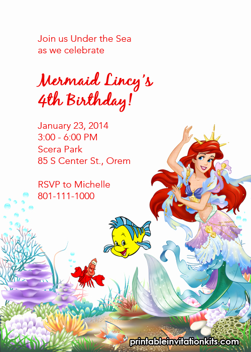 Free Little Mermaid Invitation Templates Best Of Little Mermaid Ariel and Friends Birthday Invitation