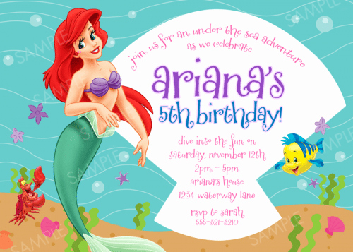 Free Little Mermaid Invitation Templates Lovely Free Little Mermaid Party Invitation