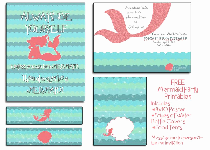Free Little Mermaid Invitation Templates Lovely Free Mermaid Party Printables I Will even Customize the