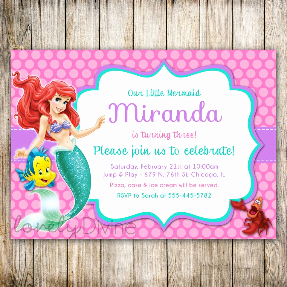Free Little Mermaid Invitation Templates Lovely Little Mermaid Birthday Invitation Ariel Invitation Ariel