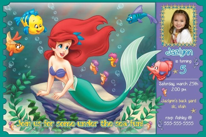 Free Little Mermaid Invitation Templates Unique Mermaid Invitations Template