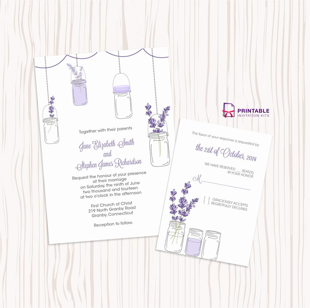 Free Mason Jar Invitation Template Awesome Mason Jar and Lavender Invitation and Rsvp Set ← Wedding