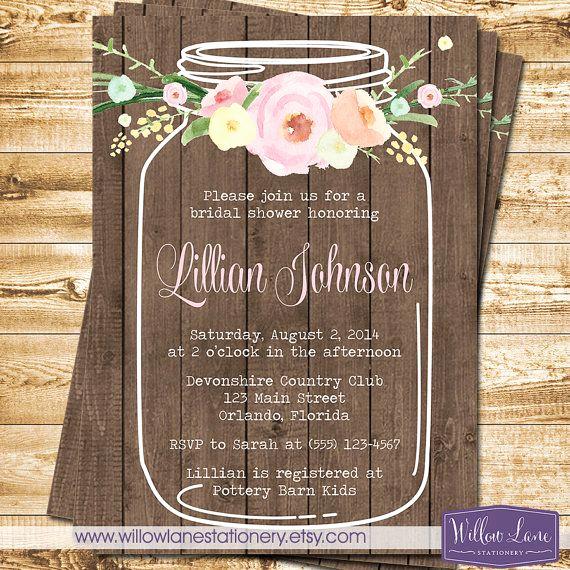 Free Mason Jar Invitation Template New Watercolor Flowers Mason Jar Bridal Shower Invitation Wood
