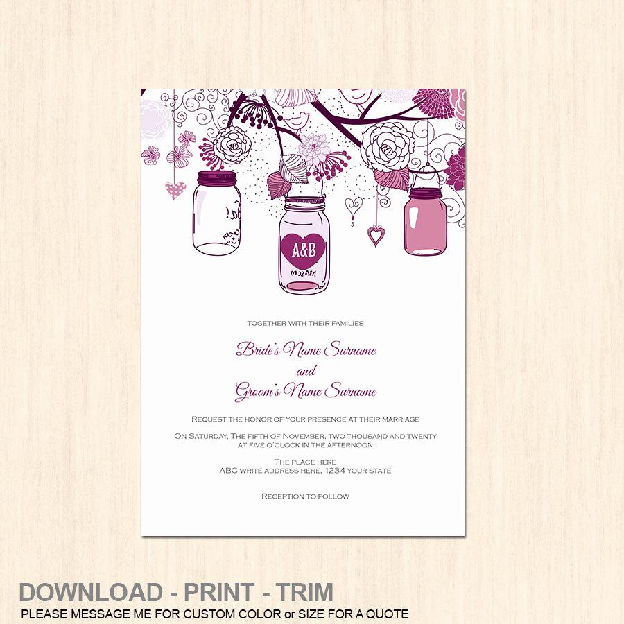 Free Mason Jar Invitation Templates Best Of Mason Jar Rustic Invitation Template Diy by