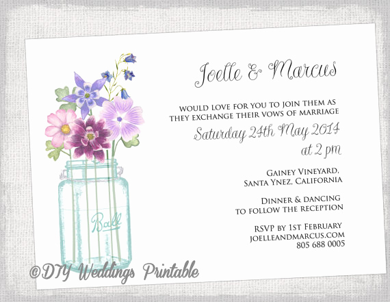 Free Mason Jar Invitation Templates Best Of Wedding Invitation Template Mason Jar Printable