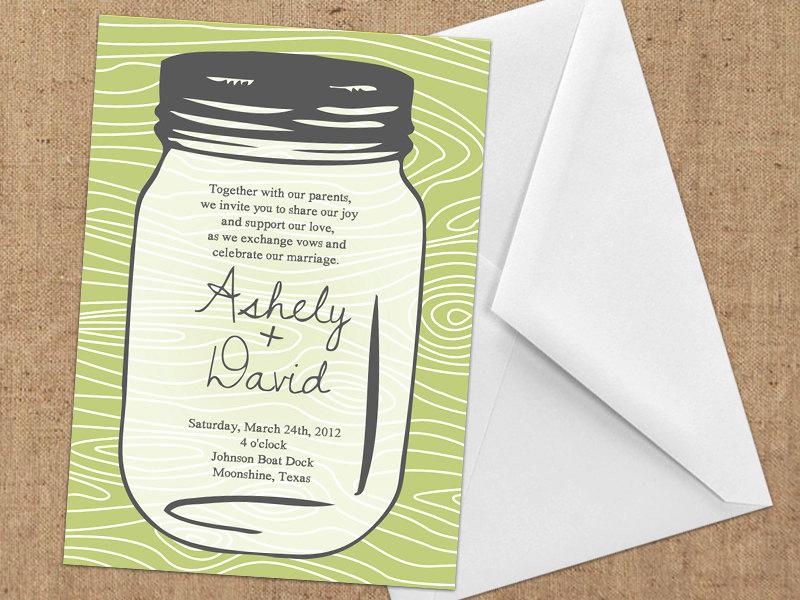 Free Mason Jar Invitation Templates Elegant Invitations Mason Jar Diy Printable by Whimsicledesign On Etsy