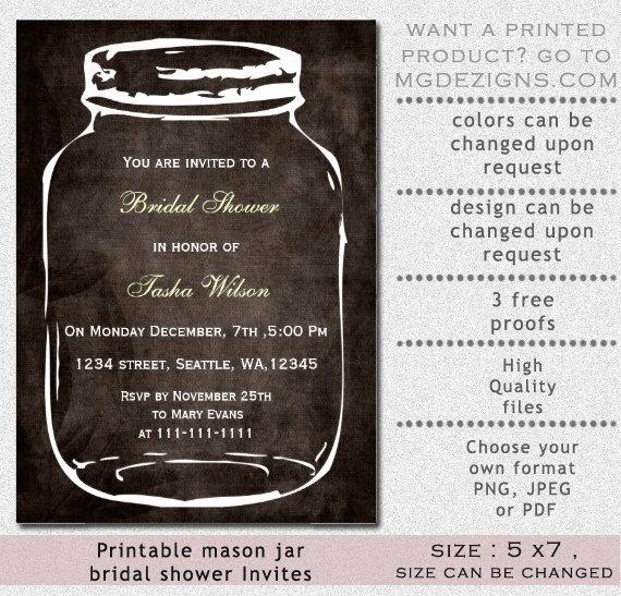 Free Mason Jar Invitation Templates Elegant Printable Rustic Country Mason Jar Bridal Shower