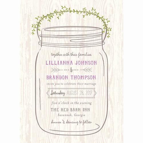 Free Mason Jar Invitation Templates Fresh Mason Jar Standard Wedding Invitation Walmart