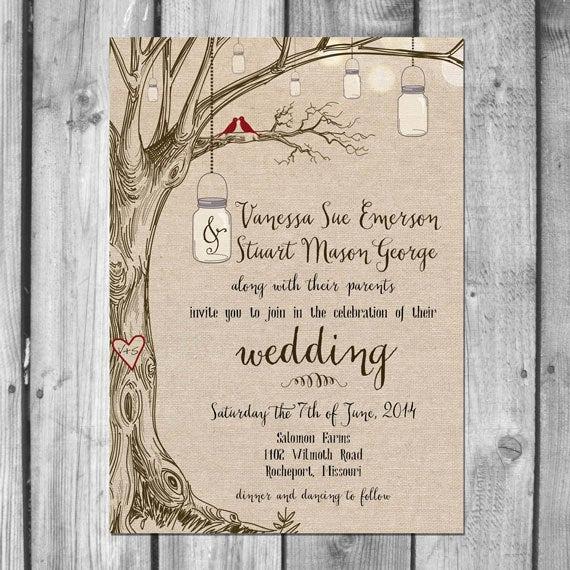 Free Mason Jar Invitation Templates New Lovebirds & Mason Jars Wedding Invitation Set