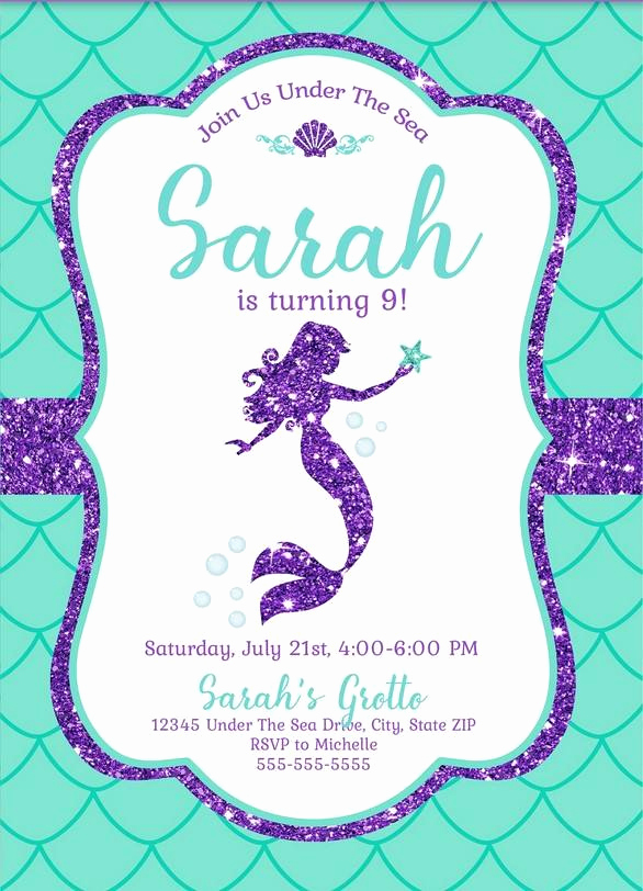 Free Mermaid Invitation Template Awesome Free Mermaid Invitation Template for Your Kids Parties