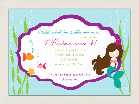Free Mermaid Invitation Template Awesome Items Similar to Printable Invitation Mermaid Party
