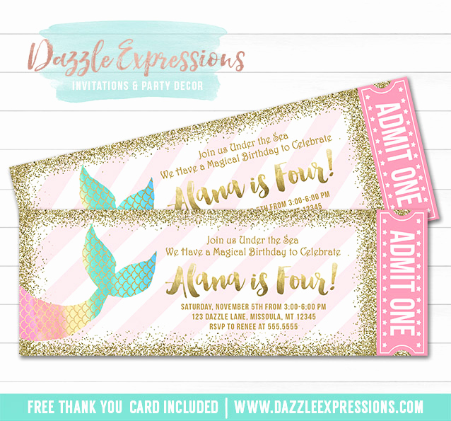 Free Mermaid Invitation Template Awesome Printable Mermaid Tail Ticket Birthday Invitation