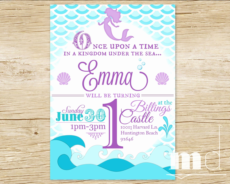 Free Mermaid Invitation Template Beautiful Mermaid Birthday Party Invitation Little Mermaid Birthday