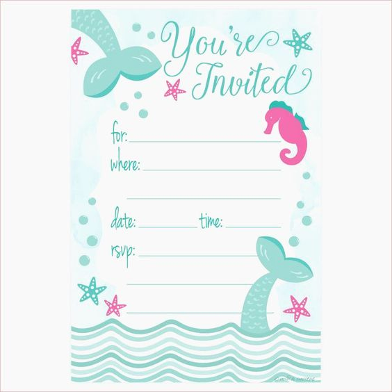 Free Mermaid Invitation Template Best Of Free Printable Mermaid Birthday Party Invitations Best 25