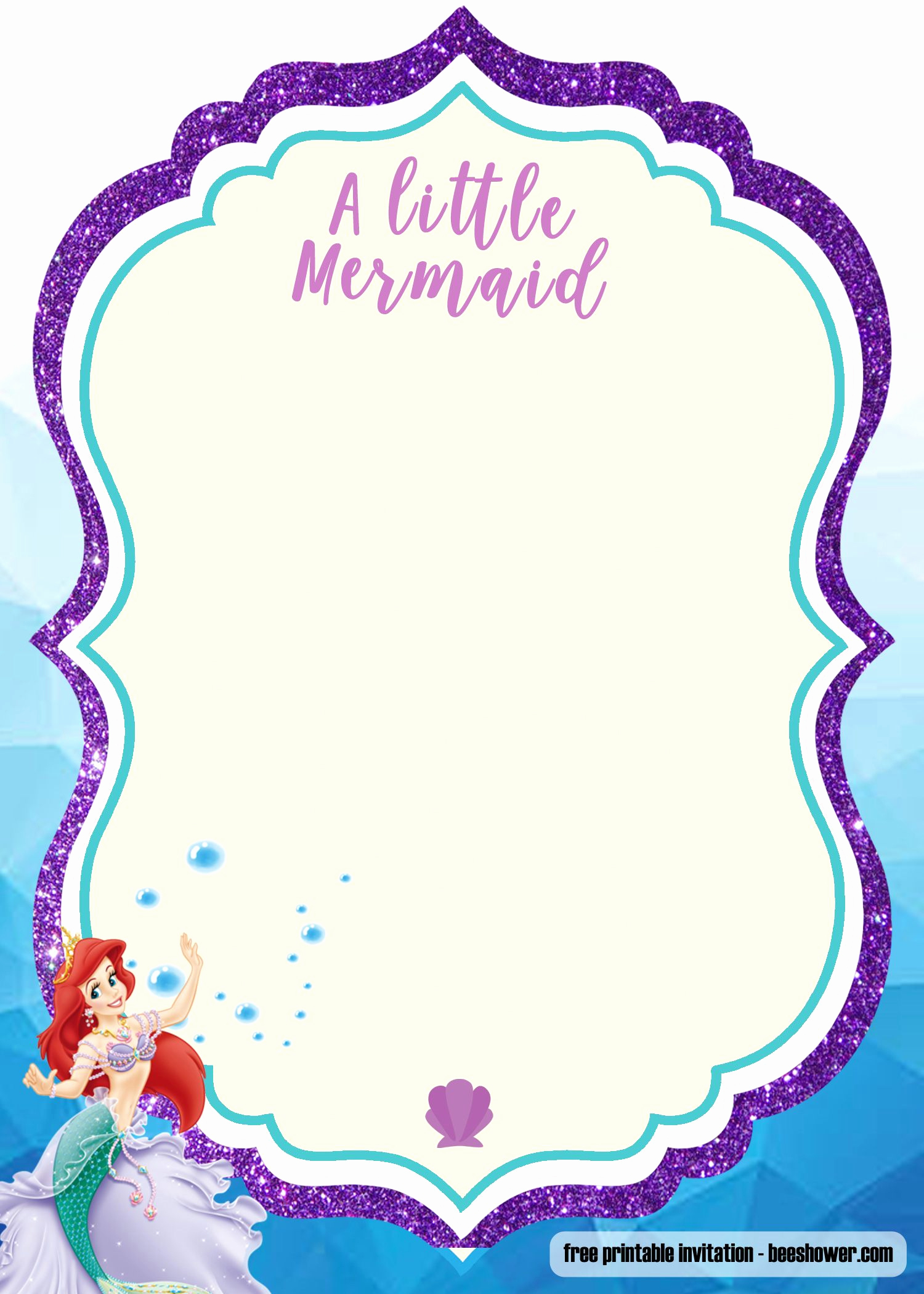Free Mermaid Invitation Template Fresh Free Printable Mermaid Baby Shower Invitation Templates