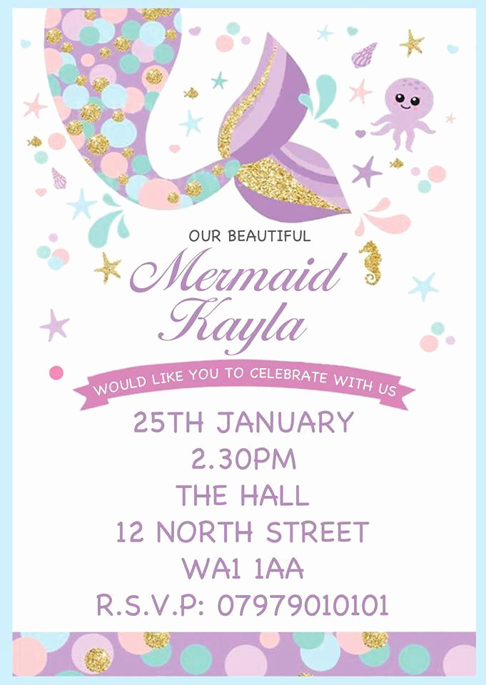 Free Mermaid Invitation Template Fresh Personalised Mermaid Invites Childrens Pink Birthday Party