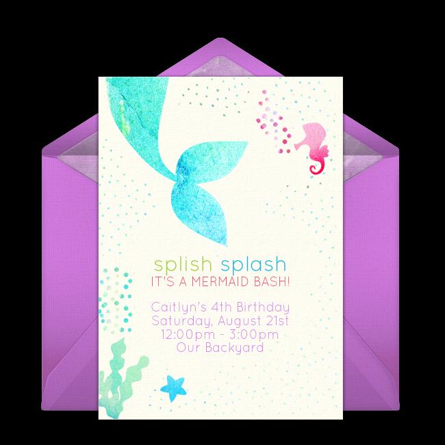 Free Mermaid Invitation Template Inspirational Free Mermaid Splish Splash Invitations