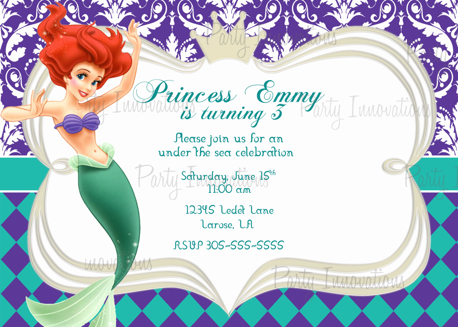Free Mermaid Invitation Template Inspirational Little Mermaid Printable Birthday Invitations