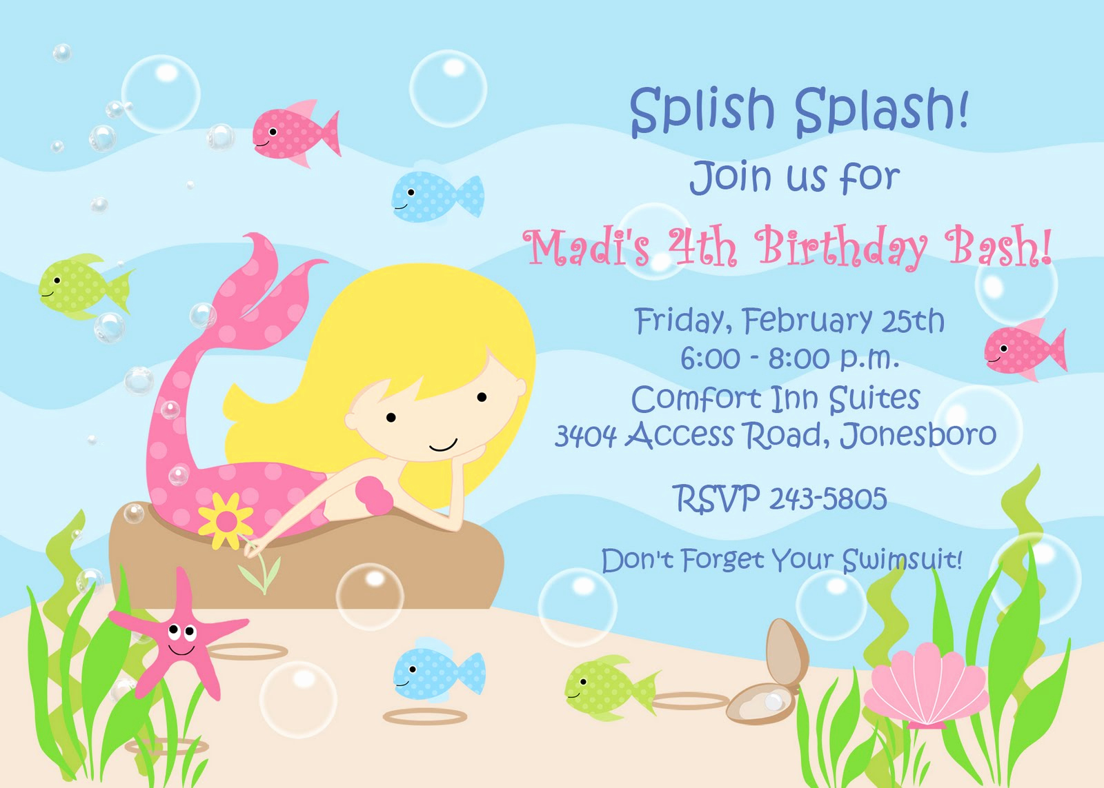 Free Mermaid Invitation Template Lovely Free Mermaid Invitation Templates