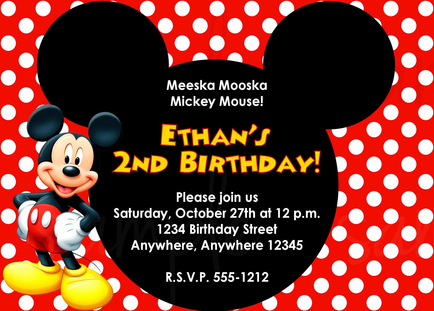 Free Mickey Mouse Invitation Template Beautiful Mickey Mouse Birthday Invitation
