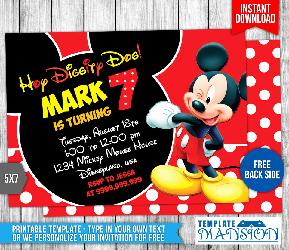 Free Mickey Mouse Invitation Template Elegant Mickey Mouse Birthday Invitation 4 by Templatemansion On