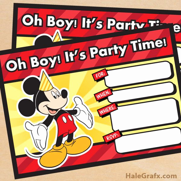 Free Mickey Mouse Invitation Template Inspirational Free Printable Mickey Mouse Birthday Invitation