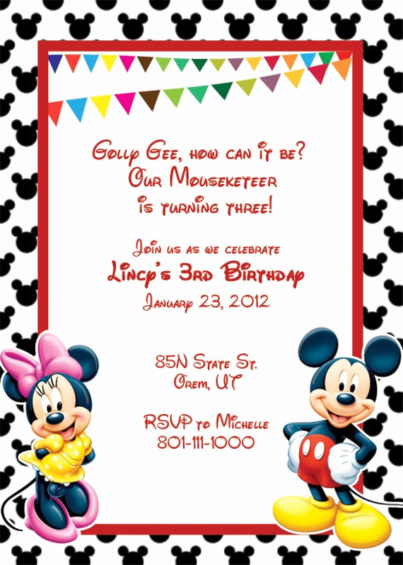 Free Mickey Mouse Invitation Template Unique Items Similar to Mickey Mouse Printable Birthday Party