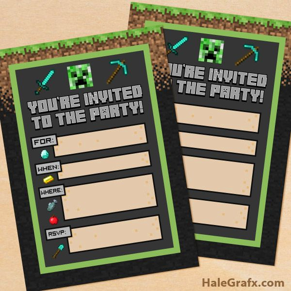 Free Minecraft Invitation Printable Awesome Free Printable Minecraft Birthday Party Invitation