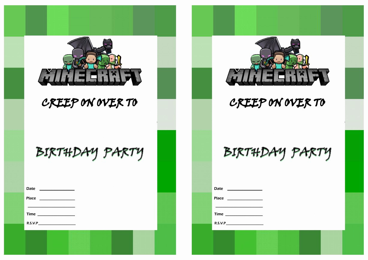 Free Minecraft Invitation Printable Best Of Minecraft Birthday Party Invitation Template
