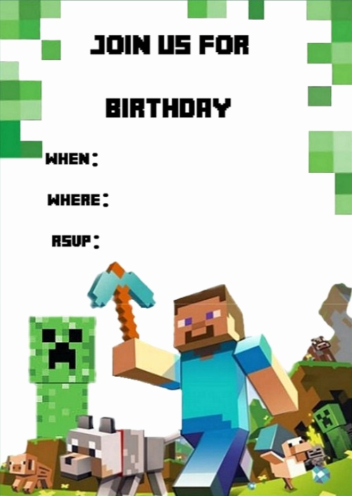 Free Minecraft Invitation Printable Best Of Templates for Minecraft Party Invitations