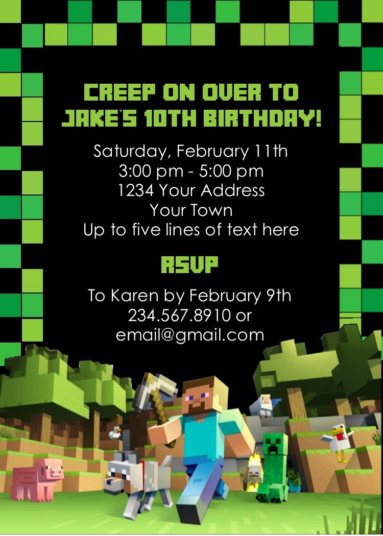 Free Minecraft Invitation Printable Elegant Minecraft Party Invitation Editable – Partygamesplus