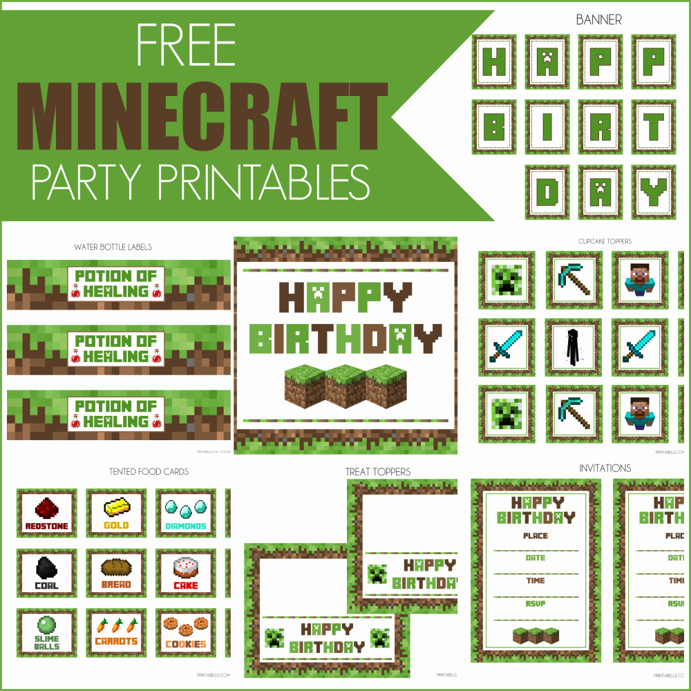 Free Minecraft Invitation Printable Lovely Free Minecraft Printables