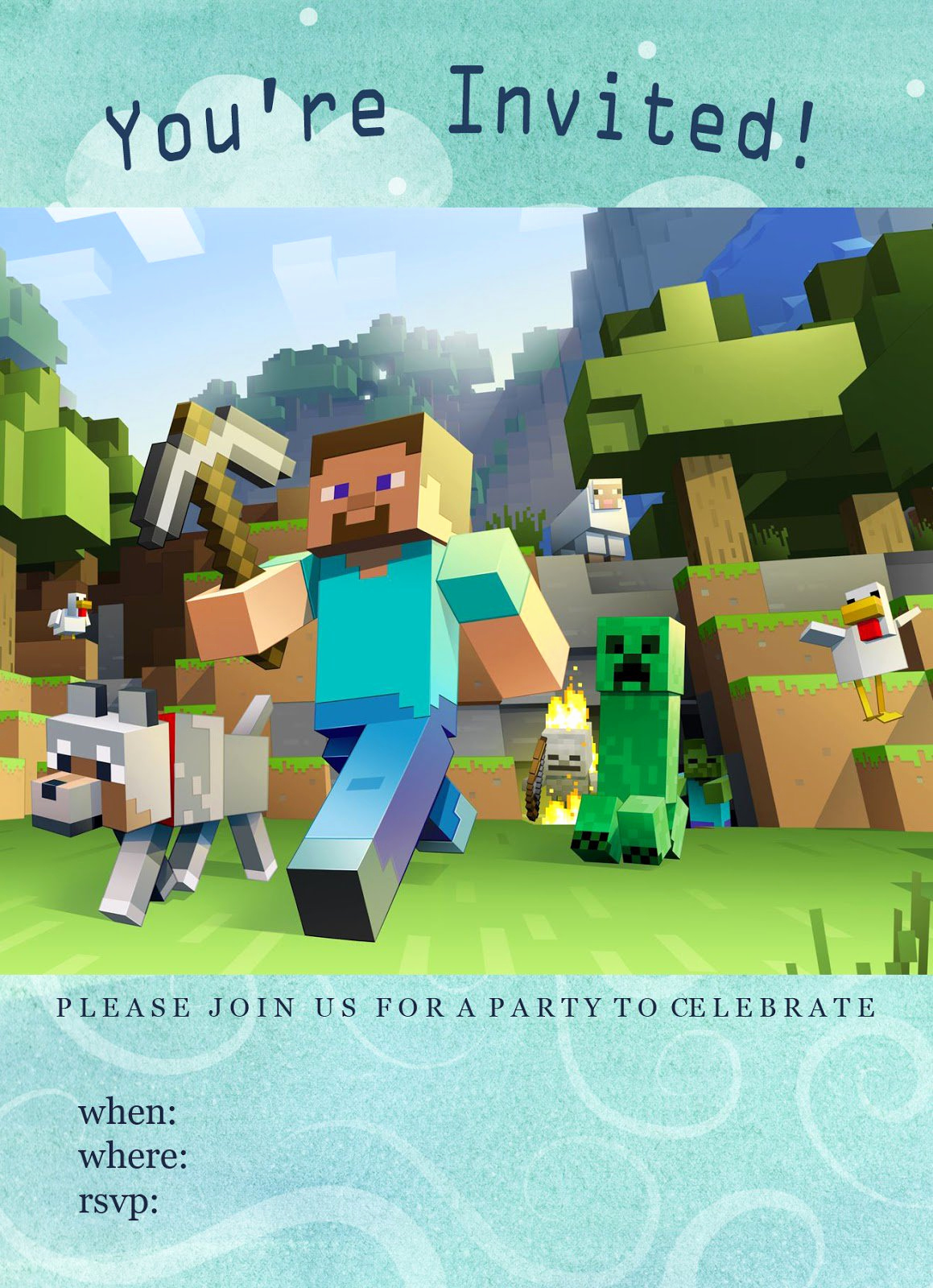 Free Minecraft Invitation Printable Lovely Minecraft Birthday Party Invitations Free