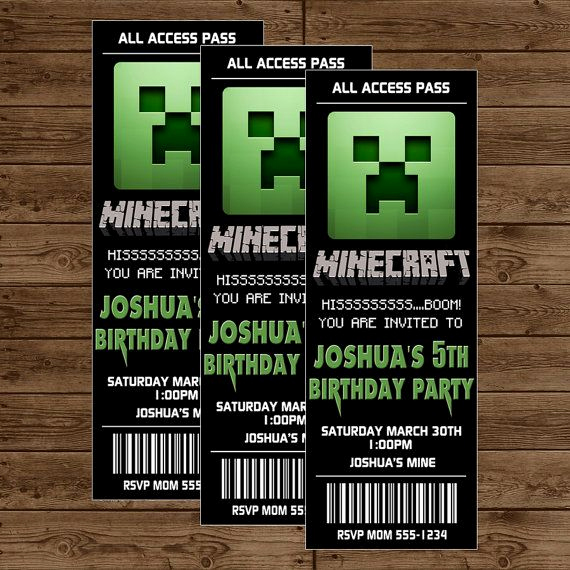 Free Minecraft Invitation Printable New Minecraft Ticket Invitation Minecraft Birthday Party