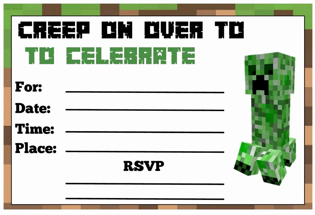 Free Minecraft Invitation Printable Unique Minecraft Birthday Party