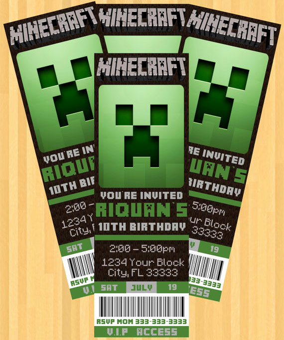 Free Minecraft Invitation Printable Unique the Best Minecraft Party Ideas for the Ultimate Minecraft