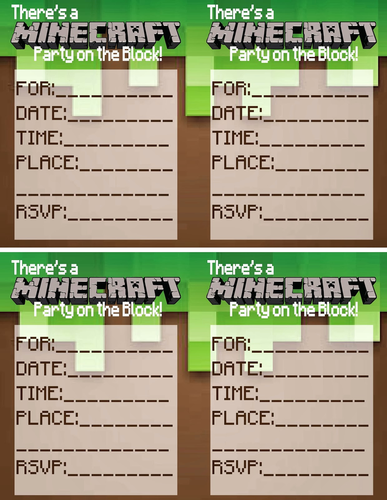 Free Minecraft Invitation Printable Unique Up Cycled & Printable Treasures Minecraft Party Printables
