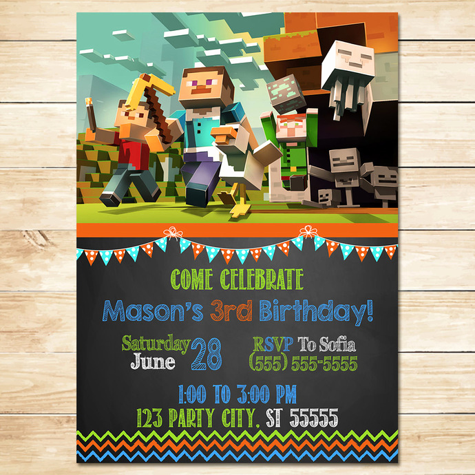 Free Minecraft Invitation Template Awesome Minecraft Invitation Chalkboard Flags by Monkstavern On