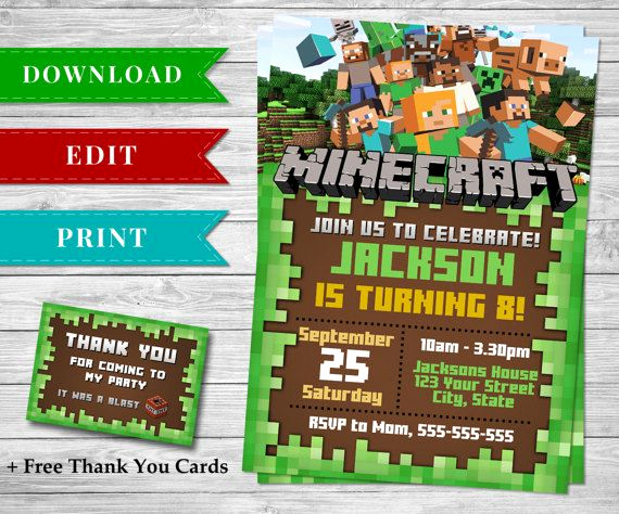 Free Minecraft Invitation Template Beautiful 126 Best Images About Minecraft Printable Papercrafts On