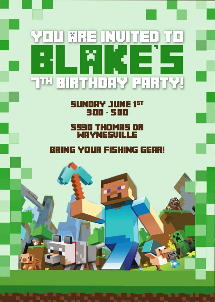 Free Minecraft Invitation Template Elegant 50 Best Images About Minecraft Party On Pinterest