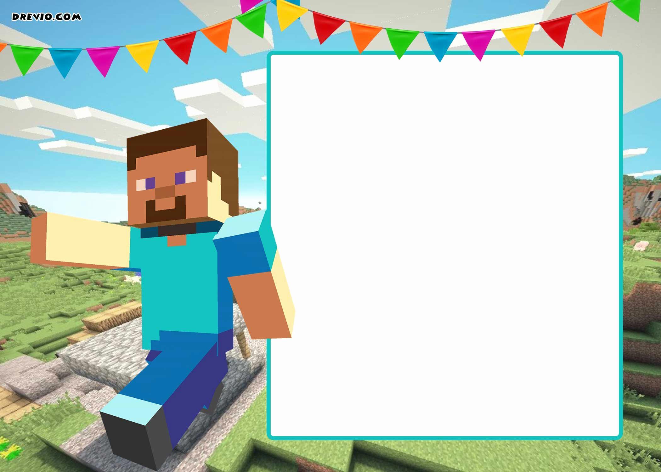 Free Minecraft Invitation Template Elegant Free Printable Minecraft Birthday Invitation Template