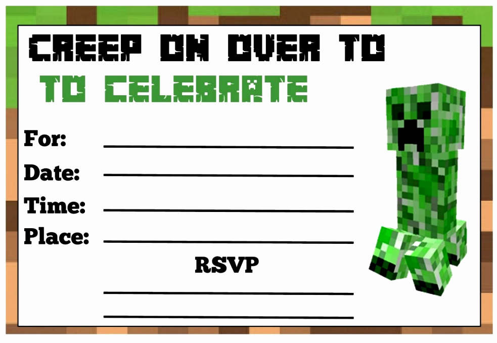 Free Minecraft Invitation Template Fresh 6 Minecraft Birthday Party Invitations Templates Teerg