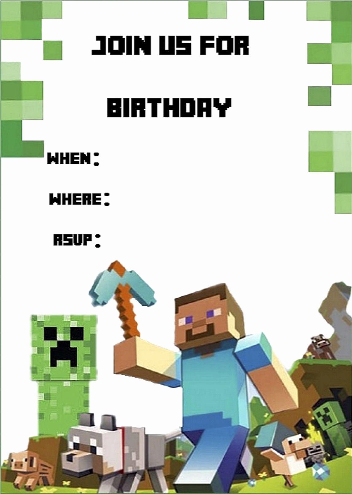Free Minecraft Invitation Template Fresh Minecraft Invite Minecraft Party